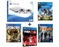 Auchan: Console PS4 500Go blanche + 2e manette + 4 jeux à 299,99€