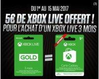 Micromania: 5€ de Xbox Live offert pour l'achat d'un Xbox Live 3 mois