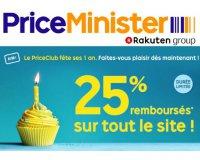 PriceMinister: 25% remboursés sur tout le site pour les 1 an du PriceClub