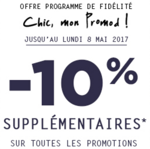 Programme fid lit chic mon promod 10 suppl mentaires sur les promotions - Meilleur programme de fidelite ...
