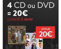 Cultura: 4 CD ou DVD pour 20€ au lieu de 6,99€ l'unité