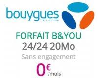 Bouygues Telecom: Forfait mobile B&YOU illimité + 20Mo d'Internet gratuit pour les clients box