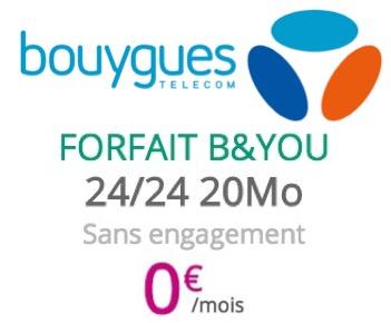 Code promo Bouygues Telecom : [Clients Bbox] Forfait mobile illimité (Appels, SMS et MMS) + 20Mo d'Internet gratuit pendant 1 an