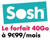 Sosh: Forfait mobile illimité (Appels, SMS & MMS) + 40 Go d'Internet à 9,99€ / mois
