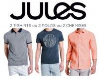 Jules:  -50% sur le 2ème polo, chemise ou t-shirt acheté