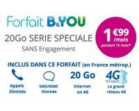 Bouygues Telecom: Forfait mobile B&YOU tout illimité + 20Go d'internet à 1,99€/mois pendant 1 an