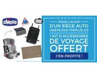 Allobébé: 1 siège auto Oasys Evo Fixplus acheté = 1 kit d'accessoires de voyage offert