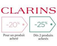 Clarins: -20% pour un produit acheté ou -25% dès 2 sur tout le site