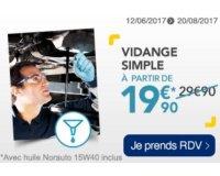 Norauto: Une simple vidange pour votre véhicule à 19,90€ au lieu de 29,90€