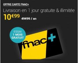 Fnac: Carte Fnac+ (offrant la livraison en 1 jour gratuite et illimitée) à 10,99€