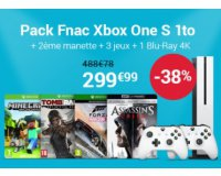 Fnac: Pack Xbox One S1 To + 2e manette + 3 jeux + 1 Blu-Ray 4K à 299,99€