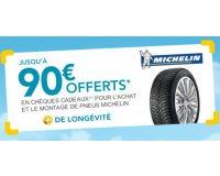 Norauto: Recevez jusqu'à 90€ offerts pour l'achat de 2 ou 4 pneus Michelin
