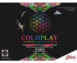 Chérie FM: 3 x 2 places pour le concert de Coldplay le 16/07 à Paris à gagner