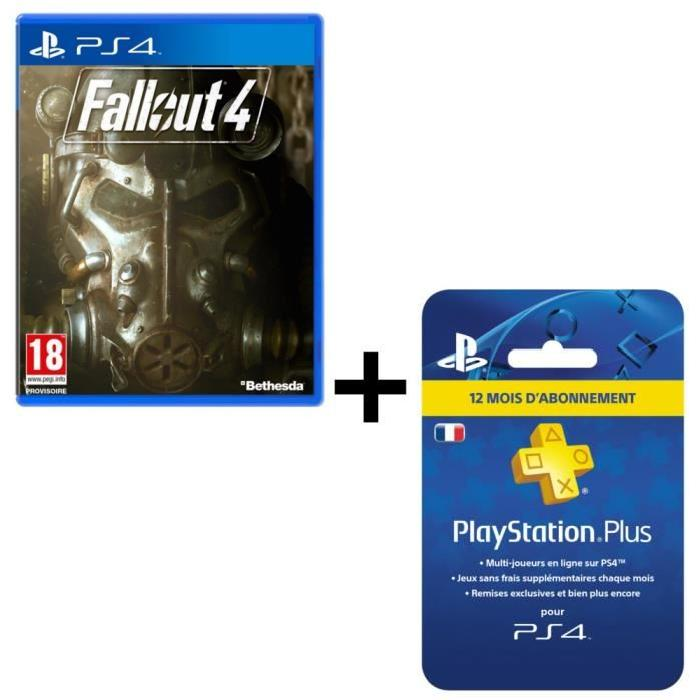abonnement playstation plus ps4 1 an fallout 4 cdiscount. Black Bedroom Furniture Sets. Home Design Ideas