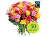 Aquarelle: Le bouquet Arlequin de 50 roses à 25 € au lieu de 34,50 €
