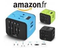 Amazon: Adaptateur secteur de voyage + 2 ports USB à 12,74€ au lieu de 15,99€