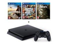 Cdiscount: PS4 Slim Noire 500Go + 3 jeux : GTA V + Ghost Recon Wildlands + Fallout 4 à 299€