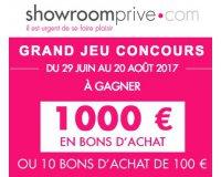 Showroomprive: 1 carte cadeau d'une valeur de 1000€ et 10 cartes cadeaux de 100€