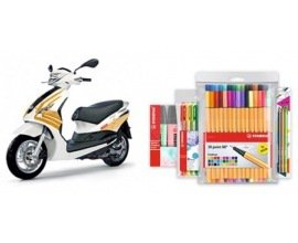 Stabilo: 1 scooter Piaggio Fly 50 4T blanc habillage STABILO à rayures oranges à gagner