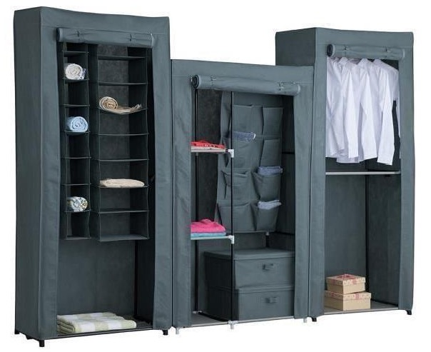 armoire penderie souple nomad 242x45x180 cm en tissu gris. Black Bedroom Furniture Sets. Home Design Ideas