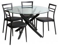 Delamaison: Ensemble Table à manger ronde + 4 chaises en métal en soldes à 118,15€