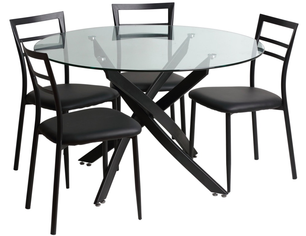 ensemble table manger ronde 4 chaises en m tal en soldes 118 15 delamaison. Black Bedroom Furniture Sets. Home Design Ideas