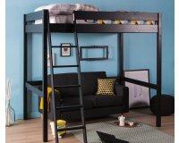 Delamaison: Lit mezzanine noir en pin massif couchage 2 personnes 140x200cm à 151,30€