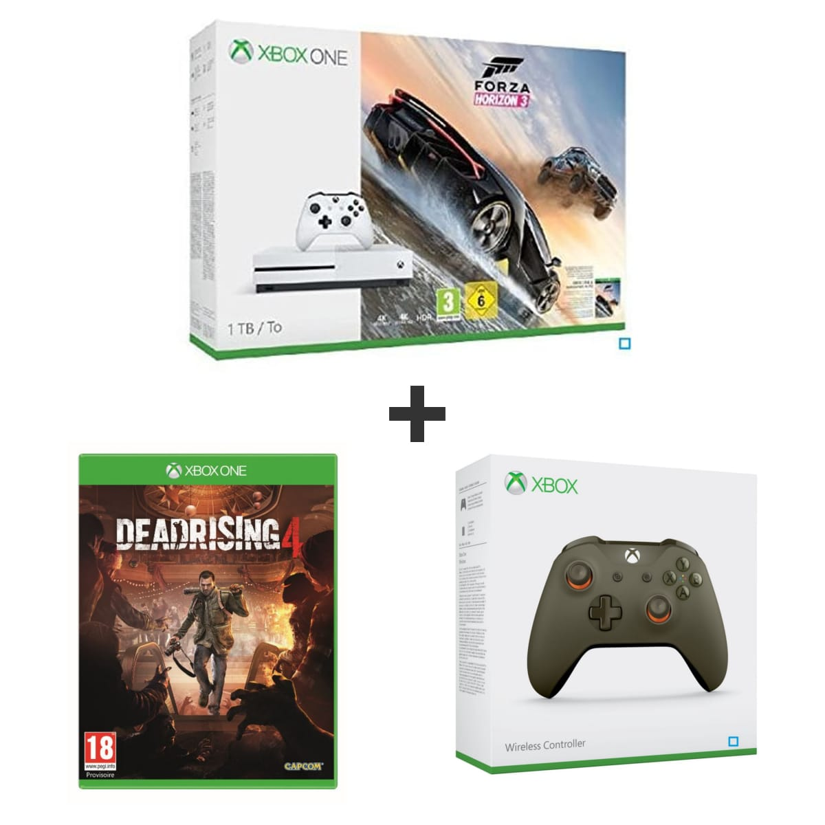 Code promo Auchan : Console Xbox One S 1To + Forza Horizon 3 + Dead rising 4 + 2e manette à 299,99€