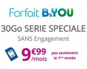 Bouygues Telecom: Forfait mobile Appels, SMS et MMS illimités + 30Go d'Internet à 9,99€/mois à vie