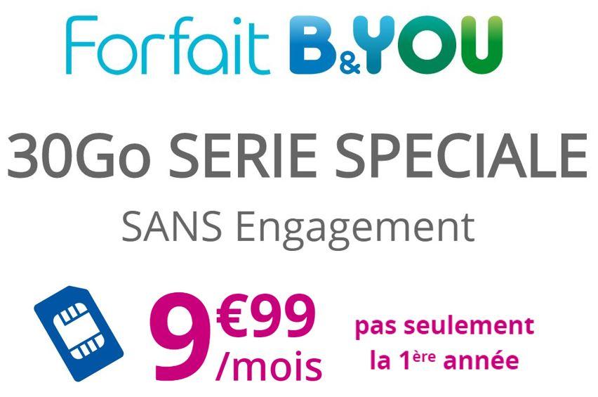 Code promo Bouygues Telecom : Forfait mobile appels, SMS et MMS illimités + 30Go d'Internet à 9,99€/mois