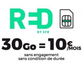RED by SFR: Forfait mobile tout illimité + 30 Go 4G à 10€ / mois sans engagement et à vie
