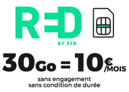 Code promo RED by SFR : Forfait mobile tout illimité + 30 Go 4G à 10€ / mois sans engagement et à vie