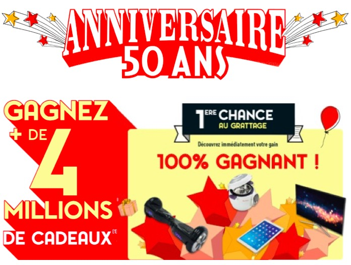 anniversaire 50 ans de 4 millions de cadeaux gagner conforama. Black Bedroom Furniture Sets. Home Design Ideas