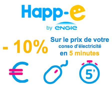 Code promo Happ'e : -10% sur le prix de vos consommations d'électricité la 1ère année et -8% la 2ème