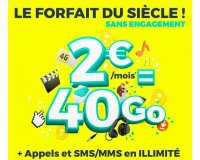 Cdiscount: Forfait mobile appels et SMS/MMS illimités + 40Go d'Internet à 2€/mois