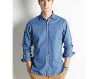 Cyrillus: Chemise ajustée en denim pour hommes à 35,94€ au lieu de 59,90€