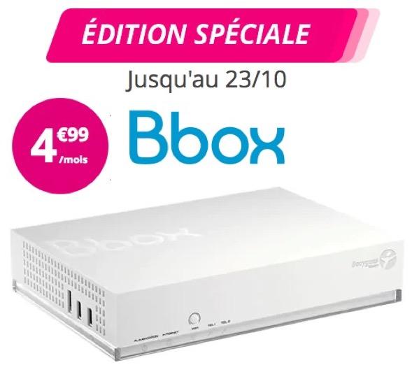 Code promo Bouygues Telecom : Bbox : Box Internet + TV + Téléphonie à 4,99€/mois pendant 1 an