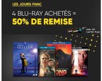 Fnac: [Adhérents] 4 Blu-ray achetés parmi une sélection = 50% de remise