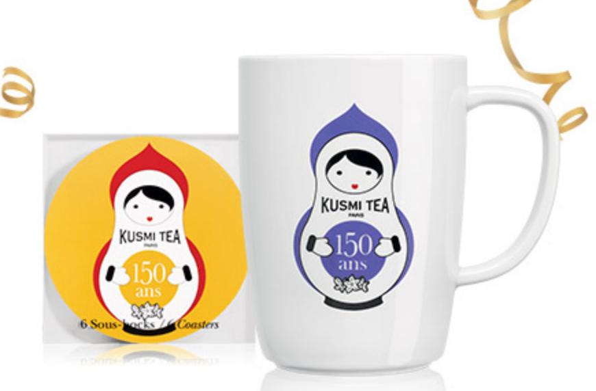 1 mug 150 ans et un sous tasse kusmi tea en cadeau d s 60 d 39 achat kusmi tea code promo 150ans. Black Bedroom Furniture Sets. Home Design Ideas