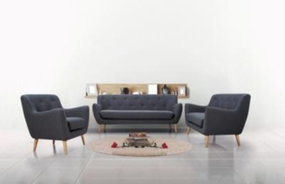 Code promo BUT : Canapé scandinave MILO, 3 places en tissu gris anthracite à 372,85€