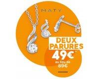 MATY: Deux parures collier pendentif et boucle d'oreilles à 49€ au lieu de 89€