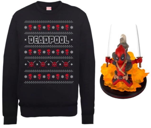 Code promo Zavvi : 1 figurine Q-Fig Deadpool offerte pour l'achat de ce pull de Noël