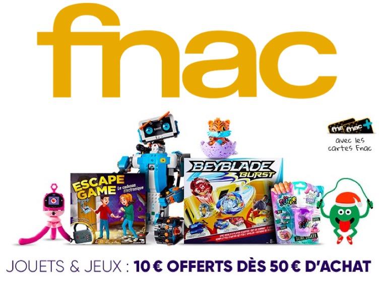 Code promo Fnac : [Adhérents] 10€ offerts dès 50€ d'achat sur le rayon Jouets & Jeux