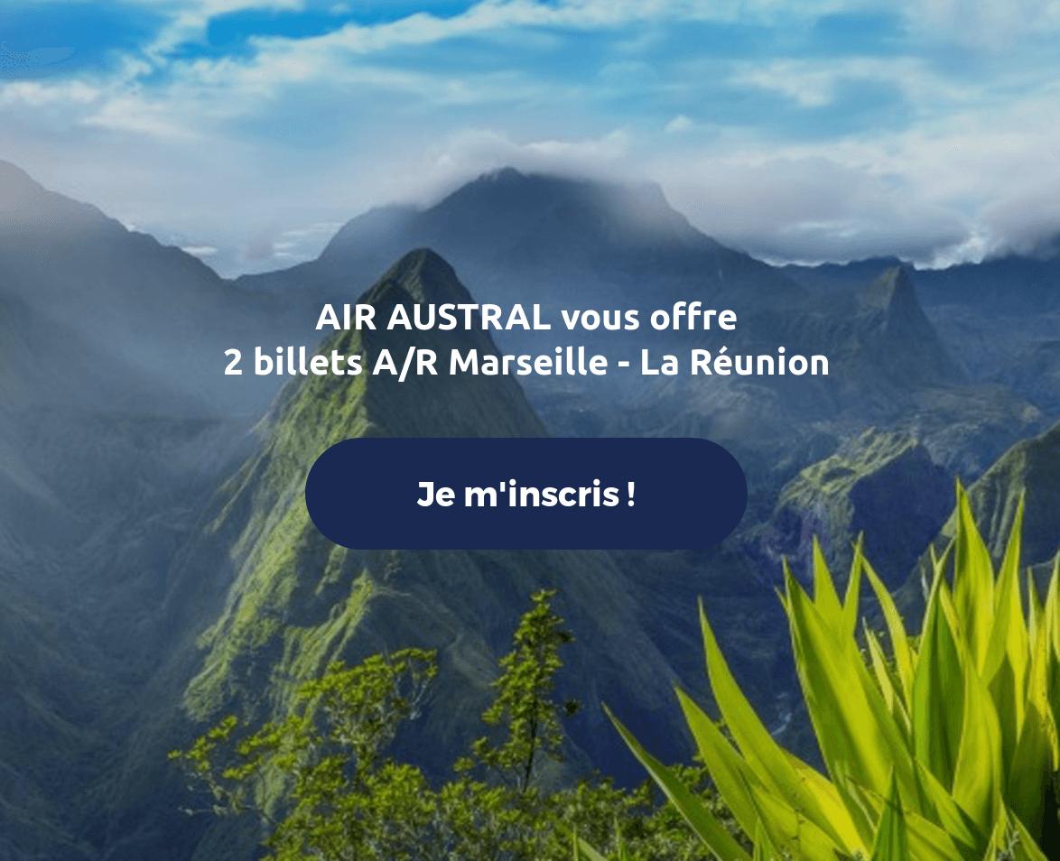 Code promo Air Austral : 2 billets A/R Marseille - La Réunion à gagner (depuis Marseille)