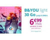 Showroomprive: Forfait mobile B&You light appels, SMS et MMS illimités + 30Go à 6,99€ par mois
