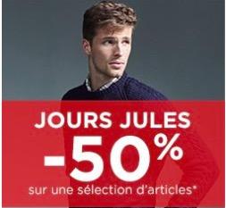 Code promo Jules : Jours Jules : tout à - 50% sur une sélection d'articles