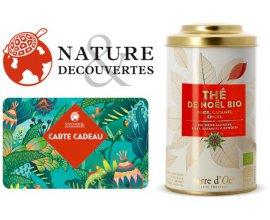Nature et Découvertes: 1 carte cadeau d'au moins 50€ achetée = 1 boîte de thé de Noël offerte