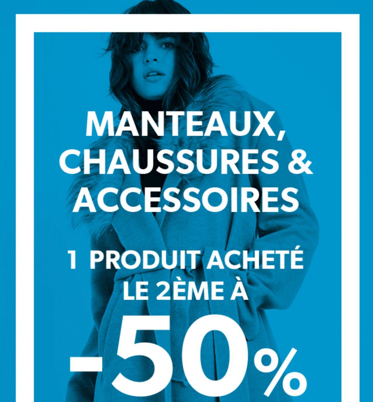 Code promo New Look : 1 article acheté parmi les Manteaux, chaussures & accessoires = le 2ème à -50%