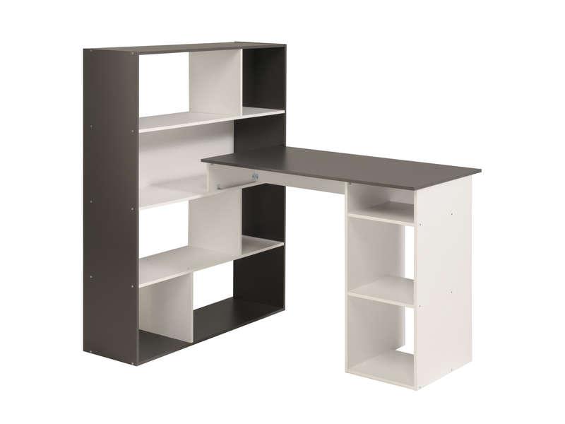 Bureau kurtis coloris blanc gris 59 99 au lieu de 119 for Bureau d angle conforama