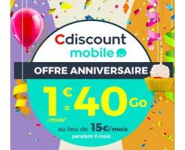 Cdiscount: Forfait mobile appels et SMS/MMS illimités + 40Go d'Internet à 1€/mois